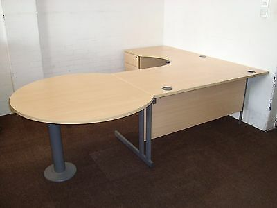 Office desk workstation. Reception desk. Left hand radial. Beech with drawers