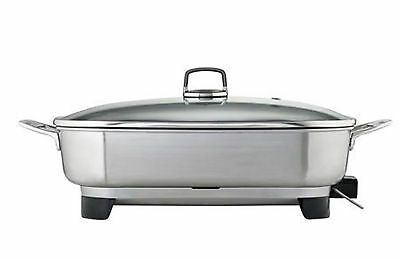 Sunbeam Stainless Steel Electric Frying Pan Frypan Non Stick Fry Lid Cooking New