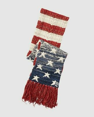 Ralph Lauren Denim & supply. Knitted scarf with USA flag print and fringes