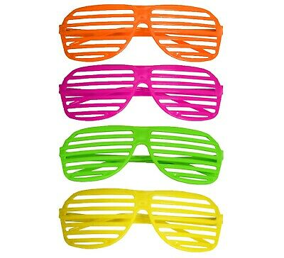 80S Neon Shutter Shades Glasses Retro Sunglasses Clubbing Night Out Party