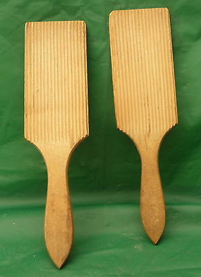 pair antique wooden butter pats kitchen display