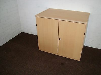 Beech Office cupboard with adjustable shelf and key