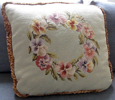 "Large Antique Tapestry Cushion hand made Needlepoint Embroidery Pansies 22""x22"""