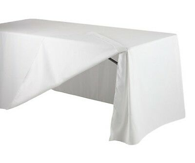 1x 6ft Fitted White Rectangular Trestle Exhibition Tablecloth With Flap
