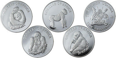 Uganda 1000 Shillings Fauna Animals Africa Gorillas Complete Series 4 Coins 2003