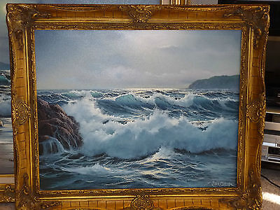 "Peter Cosslett Stunning Seascape Oil Painting on Canvas Signed 24"" x 20"" Framed"