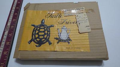 New VINTAGE BRASS FOOTED Turtle TRIVET HOT PLATE from Ohrbach's