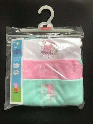 Peppa Pig Baby Girls Ballet Pink/White/Turquoise Vest Pack of 3 Age 12/18 18/24