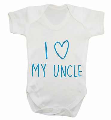 I love my uncle baby vest love heart funny gift auntie niece nephew family  843