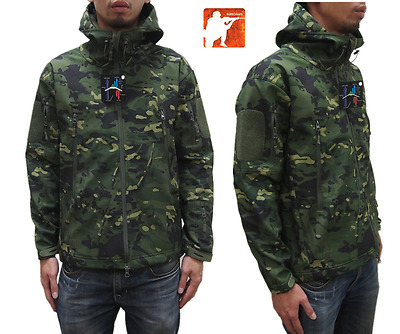 MULTICAM TROPIC Sharkskin Softshell Tactical Jacket TAD Hunting Hoodie Airsoft