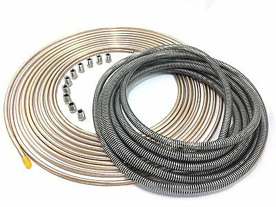 "25 Ft Roll Coil of 3//16/"" OD Copper Nickel Brake Line Tubing Kit Fittings BD *"