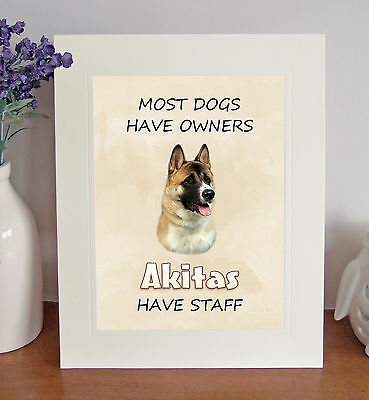"Akita Dog 10""x8"" Free Standing ""Akitas Have Staff"" Picture Mount Fun Gift"
