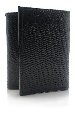 Mens Black Lizard Embossed Soft Leather Pass-case ID Trifold Wallet NEW Gift