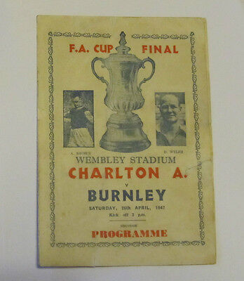 1947 Charlton Athletic v Burnley. FA CUP FINAL -  PIRATE PROGRAMME.