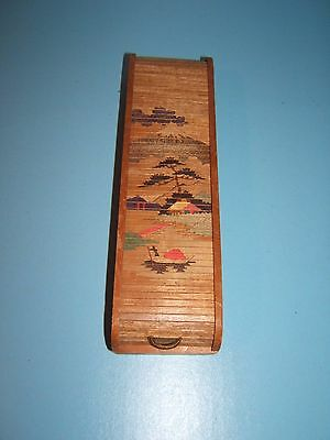 Vintage Wooden Pencil Box Japan Roll-Top Pencil Case RARE! Occupied Japan