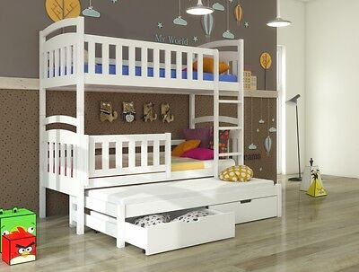 Jacob WHITE/PINE/BLUE WOODEN Bunk Bed with Mattresses & Storage NEW Free P&P