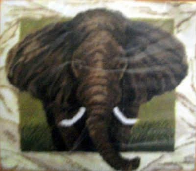"Latch Hook  Animal Rug Making Kit  ""elephant Portrait"""