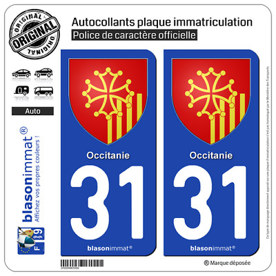 2 stickers autocollant plaque immatriculation auto 31 occitanie armoiries picclick ca. Black Bedroom Furniture Sets. Home Design Ideas