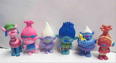 6pcs Movie Trolls ppy Branch PVC Figure Toy Dolls _DHY