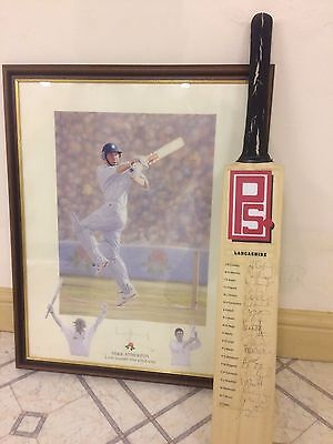 Mike Atherton signed print & Lancashire Team signed Cricket Bat
