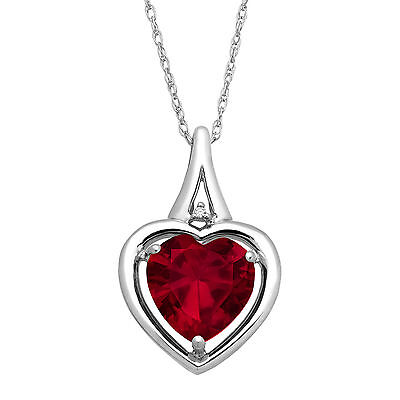 3 1/3 ct Created Ruby Heart Pendant with Diamond in Sterling Silver
