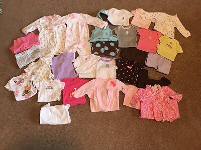 27pc USED BABY GIRL NEWBORN MONTHS SPRING SUMMER CLOTHES LOT