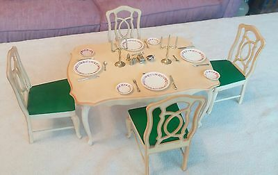 Vintage Sindy Dining Table 4 Chairs Cutlery Plates Candles