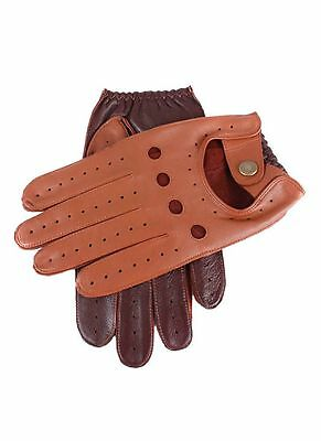 Mens Dents Leather Two Tone Cognac/Tan Driving Gloves Unlined 5-1021