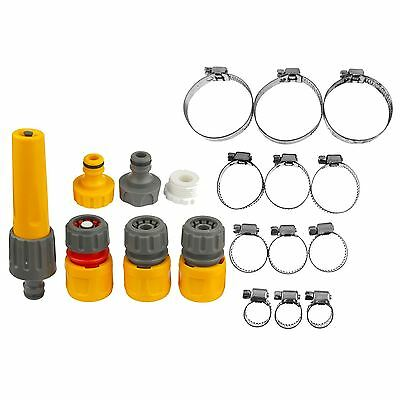 Hozelock 7pc Hose Reel Pipe Connectors Fittings Sprayer &12pc Clamp Jubilee Clip