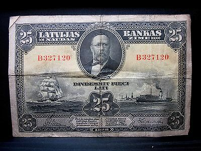 1928 Latvia 25 Lati ✪ Fine F ✪ P-18 L@@k Now Valdemars Ships Boats ◢Trusted◣