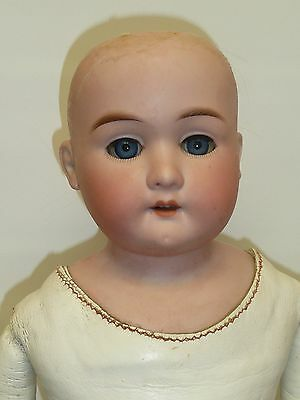 "24"" AM Floradora w/Blue Sleep Eyes on Leather Body, As Found"