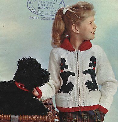 Vintage Knitting Pattern For Childs Picture Jacket With Zip Front