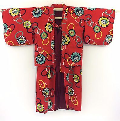 Authentic Japanese red kimono + haori jacket set for little girls (H1025)