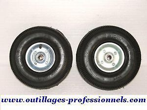 ROUES GONFLABLES X 4 SUR ROULEMENTS JANTE GALVANISE DEMONTABLE  AXE DEPORT 16 mm