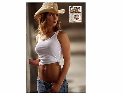 Lonestar Beer Cowgirl In White Top Refrigerator / Tool Box Magnet