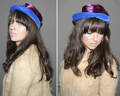 Vintage 60s BLUE VELVET Hat / Mod ROUND Cobalt Blue Hat, Plum Purple Satin Ribbo