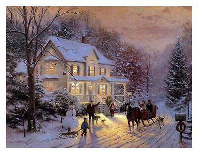 unframed  Thomas Kinkade oil painting HD printed on canvas Home for the holiday