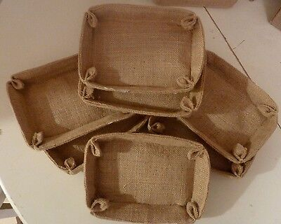 14 x NATURAL JUTE/HESSIAN GIFT BASKETS/TRAYS-12cmx18cm-*REDUCED to CLEAR