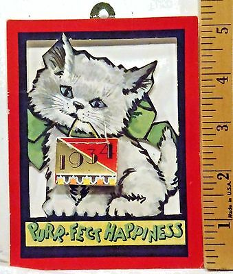 1934 Kitty Cat Miniature Calendar / Greeting Card - Good, Complete Condition