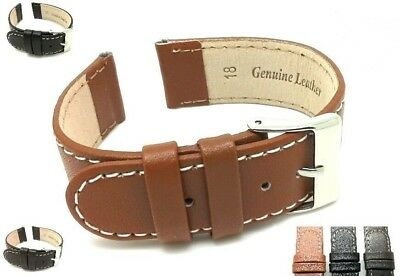 Genuine Leather Watch Strap Band Mens Ladies Stainless Steel Buckle