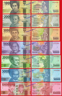 INDONESIA FULL SET 1000 / 100000 Rupiah 2016 (2017) Pick NEW  SC / UNC