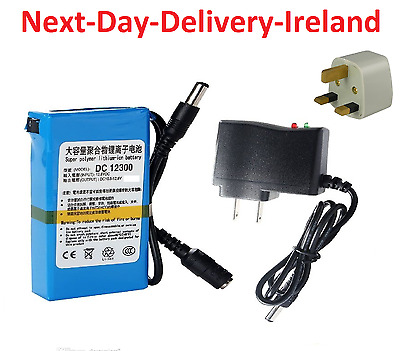 DC-168 12V Power Supply Rechargeable Li-ion Lithium Battery UK EU Plug CCTV