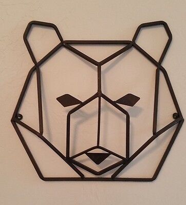 New Bear Head Metal Wall Decor Brown 14 Cabin Den Baby Rustic Hl024