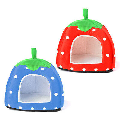 Foldable Plush Strawberry Pet Dog Cat Bed House Kennel Doggy Warm Cushion Basket