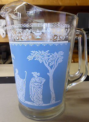 Vintage Glass Wedgwood Pitcher Jeanette 8.5 inches tall