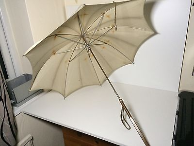 Vintage Wooden Handled Ladies Parasol Umbrella Cream/Grey
