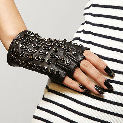 Ladies Woman Genuine Nappa Leather Half Finger Punk Driving Gloves On Sale #L116