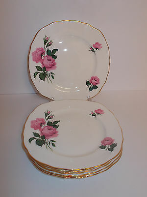 6 x Queen Anne Bone China Side Cake Tea Plates Pink Rose Floral Design Lovely