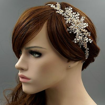 Crystal Pearl Leaf Vine Headband Headpiece Tiara Bridal Wedding Accessory 3980 G