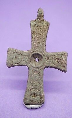 Ancient Medieval Byzantine bronze cross pendant 8th-12th century AD